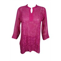 Mogul Womens Beautiful Magenta Pink Floral Hand Embroidered Tunic Blouse Long Sleeves Georgette Sheer Kurti Cover Up Top Dress S/M - Walmart.com