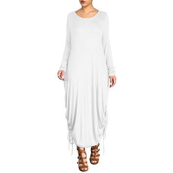 White Shirring Gathered Side Drape Bubble Jersey Dress