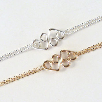 Heart Infinity Bracelet Rose Gold Friendship Bracelet Bridesmaid Jewelry Best Friends Gift Sisters Bracelet