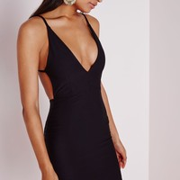 CREPE EXTREME PLUNGE STRAPPY BODYCON DRESS BLACK