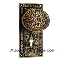 Kitron Brass Door Knob with Plate