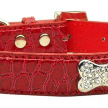 Faux Croc Crystal Bone Collars Red Small