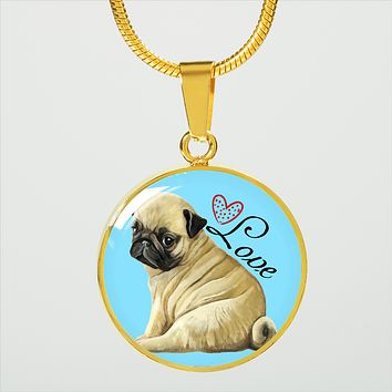 Pug Love 18K Real Gold Finish Necklace With Pendant (Engrave Option Available)