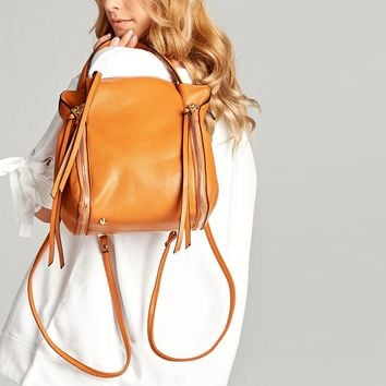 Faux Leather Handbag Backpack
