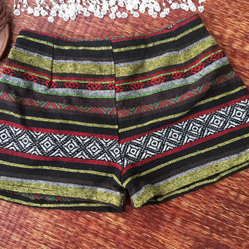 Aztec Boho Shorts,Tribal shorts,Festival shorts,Hippie,bohemian,Woven Boho shorts,Ikat print,gift for her,vegan,Gypsy,Kids shorts