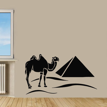 WALL VINYL DECALS STICKERS MURAL ART DECOR CAMEL IN DESERT PYRAMIDS EGYPT Kj136
