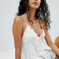Miss Selfridge cami top with floral applique in white at asos.com