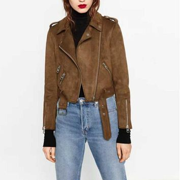 Chic Brown Faux Suede Jacket 2016 Autumn Women Short Motorcycle Biker Jacket Lapel Zipper Adjustable Waist Loose Coat Outerwear