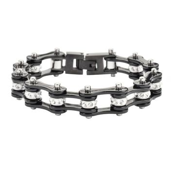Black Stainless Steel Chain Bracelet with Rolling Crystals