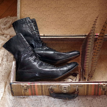 Edwardian Worn Leather Black Boots circa 1910s-30s Lace Up