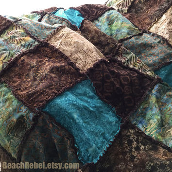 "Batik rag quilt full size or bed coverlet in warm browns, teal, khaki and turquoise 81""x90"""