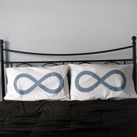 His and Hers Infinity Pillowcases in blue gray, Standard Size 200TC : pillow case, bedding, Wedding or Anniversary Gift, home decor