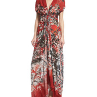Short-Sleeve Twist-Front Printed Gown, Red Pattern