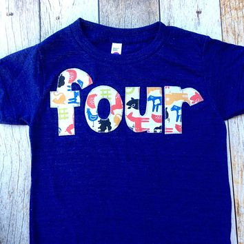Farm Birthday Shirt- Boys 4th four  Indigo Birthday T Shirt - Tractors and Animals Cow Sheep Pig Chicken Rooster 4 year old