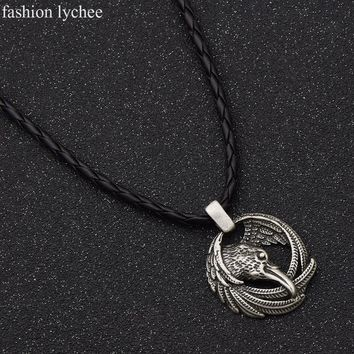 fashion lychee Norse Viking Odin Raven Pendant Long Rope Chain Animal Power Necklace Antique Silver Color Amulet Men Jewelry