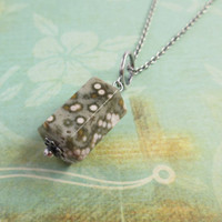 Ocean Japser Hexagonal Cylinder Pendant Sterling Silver Necklace, Natural Stone Jewelry