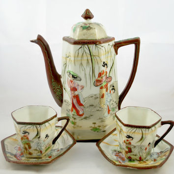 Coffee Tea Set in Porcelain and Moriage Hand Painted Geisha Zen Style