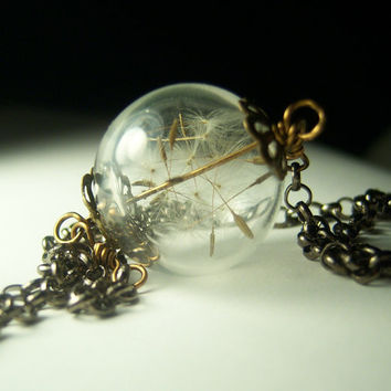 Dandelion Necklace Make A Wish Dandelion Seed Hollow Lampwork Bead Round Necklace- 24 inches