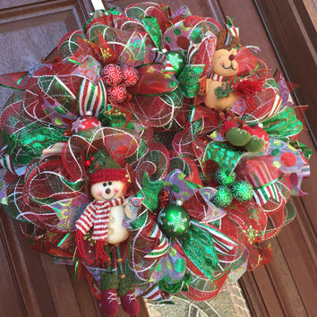 Christmas Wreath Deco Mesh, Red Green Rudolph Reindeer Snowman Wreath, Holiday mesh wreath - READY TO SHIP