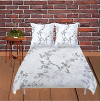 Duvet Cover - 4 different sizes, No Insert, Bedroom, Home, decor, Floral, Boho, Hippie, With, Without, Shams, White, Grey, Blue, Leaves