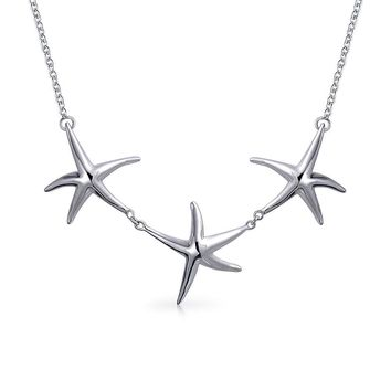 3 Starfish Nautical Beach Collar Necklace 925 Sterling Silver