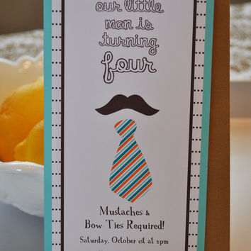 Personalized Mustache Bash Little Man Invitation - Note Card Set of 10