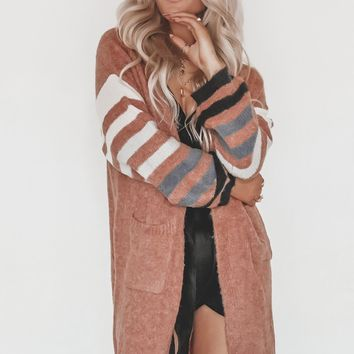 Cross Me Cozy Rust Striped Cardigan