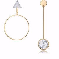 Light Gold Asymmetric Dangle & Hoop with Natural Stone Earrings