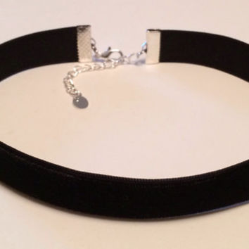 "black velvet choker plain 12"" necklace 90s grunge trendy style 5/8"""