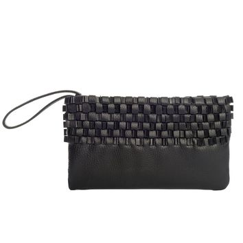 Minerva-Hand Woven Leather Clutch Wristlet
