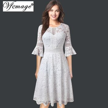 Vintage Retro Full Floral Lace 3/4 Flare Bell Sleeve Contrast Cocktail Wedding Party A-Line Midi Dress