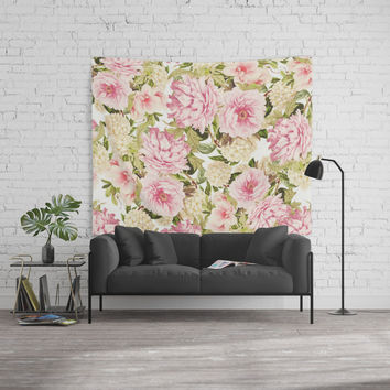 vintage peonies and hydrangeas Wall Tapestry by sylviacookphotography