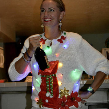 Wine Holder Ugly Christmas Sweater, Light up, Women's Medium, stocking, alcohol, novelty, jumper, one of a kind, party pocket, shoulder pads