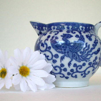 Vintage creamer Japan blue transferware phoniex  1962