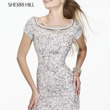 Prom Dresses 2014 - Sherri Hill 8521 Sequined Short Sleeves