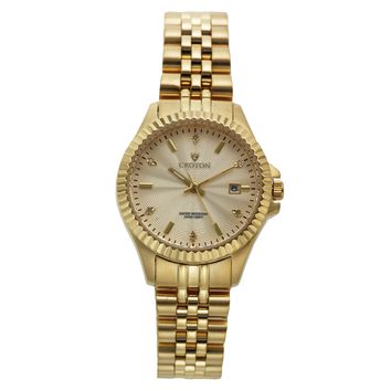 Croton Womens Stainless steel Goldtone Diamond Marker Watch