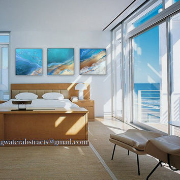 "contemporary abstract beach triptych metal wall art prints of ""healing waters"" by artist Holly Anderson & L.b.Paintings FREE USA SHIPPING"