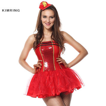 KIMRING SEXY FIREFIGHTER HALLOWEEN CHRISTMAS COSTUME COSPLAY ADULT WOMEN HALLOWEEN COSTUME RED FANCY DRESS PARTY CLUB BAR