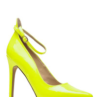 Pointed Toe Neon Yellow Viper Heels