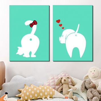 Kawaii Cat Dog Tail Canvas Painting Nursery Wall Art Animal Poster Print Nordic Picture Kids Baby Girls Room Home Decor Silk Pos