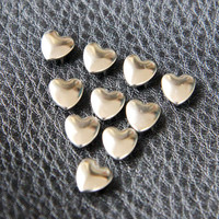 10mm 100pcs Silver heart studs ( 4 legs ) / HIGH Quality - Fikashop