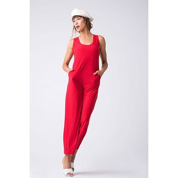 Cross Back Cropped Jumpsuit - Tango