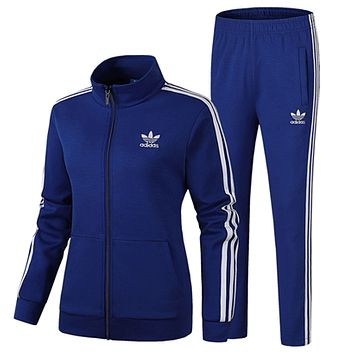 ADIDAS Clover women's spring and autumn running breathable jacket feet trousers sportswear two-piece blue