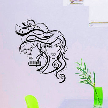 Wall Decals Hairdressing Hair Beauty Salon Decal Vinyl Sticker Girl Fashion Hair Beauty Decor Window Dorm Living Room Bedroom Art Mural Z803