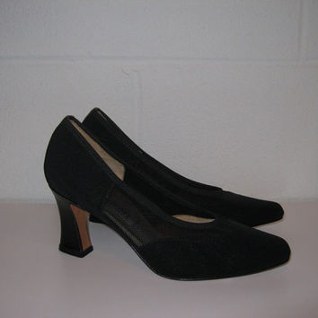 Vintage Black High Heel Shoes / Leather and Mesh Pumps / Cocktail Party / Wedding / Prom / Sexy Shoes
