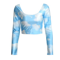 Light Blue Printed Long Sleeve Crop Top