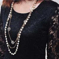 Floral Long Pearl Necklace