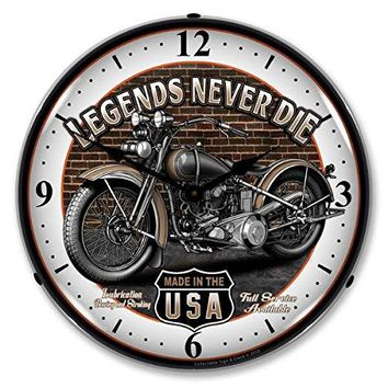 """Collectable Sign and Clock SM1103308 14"""" Legends Motorcycle Lighted Clock"""