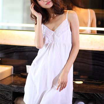 Women Summer Princess Nightgown Spaghetti Strap Sleepwear Hot Sale Girls Vintage White Nightgowns Vintage Royal Womens Sleepwear