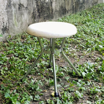 Mid Century White Industrial Cosco Stool